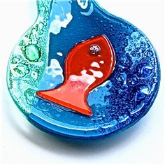 Blue Green Bubble Spoon Rest by Fish-in-Glass, via Flickr