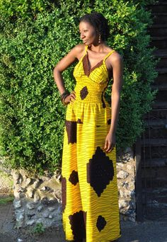 African print yellow maxi dress with back tie ~African fashion, Ankara, kitenge, African women dresses, African prints, Braids, Nigerian wedding, Ghanaian fashion, African wedding ~DKK