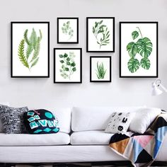 Tropical Leaf Wall Art | Modern Canvas Art Print Poster Painting by Numbers Green leaves print Wall Pictures for Living Room