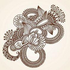henna mehndi flowers doodle