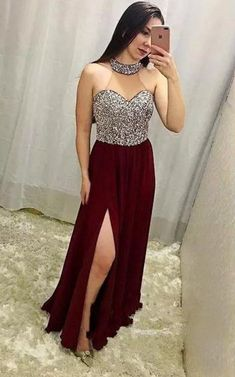 Luxury Burgundy Split Prom Dresses High Neck Beaded Sexy Backless A Line Chiffon African Plus Size Elegant Evening Formal Gowns Un abito (noto anche come abito. Split Prom Dresses, A Line Prom Dresses, Dance Dresses, Long Dresses, Dress Long, Party Gowns, Formal Gowns, Dress Formal, Dream Dress