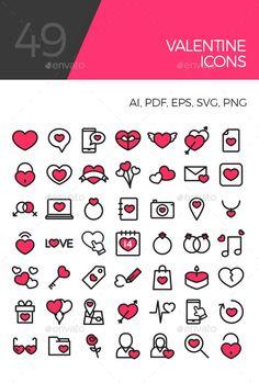 Colorful Valentine icons (Seasonal)