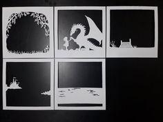 Little Girl & Dragon inch] - Paper Cutting Light Box Template files - . Little Girl & Dragon inch] – Paper Cutting Light Box Template files – Kirigami, Shadow Box Kunst, Shadow Box Art, 3d Paper Art, Diy Paper, Paper Crafts, Paper Cutting Patterns, Box Frames, Flower Designs