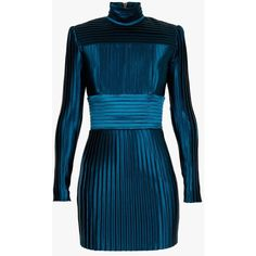 Balmain High neck pleated mini dress (45,505 MXN) ❤ liked on Polyvore featuring dresses, balmain, pleated dress, short blue dresses, short pleated dress, leather belt and zipper dress