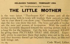 Ad for the 1911 silent film The Little Mother.  The film is lost.