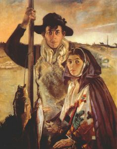 Séan Keating, Aran Fisherman and His Wife Classic Paintings, Paintings I Love, Traditional Irish Clothing, Irish Costumes, Irish Culture, Irish Art, Irish Traditions, Couple Art, Sculpture Art