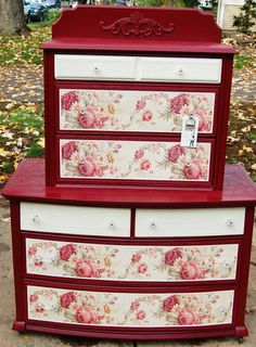 Dishfunctional Designs: Vintage Red Painted Furniture ... these chests are really beautiful! gives me an idea of something to try for! will have to keep an eye open for similar rose patterned wall paper or fabric!