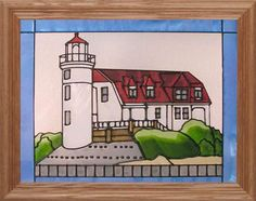 "Silver Creek Michigan Point Betsie Lighthouse ~ 13.5"" x 16.5"" Suncatcher"