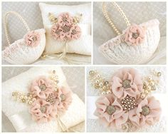 Bridal Ring Bearer Pillow and Flower Girl Basket Set in Ivory and Blush with Lace, Chiffon, Jewels and Pearls - Vintage Inspired on Etsy, $193.96 CAD
