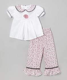 Take a look at this White Rose Top & Pink Ruffle Pants - Infant, Toddler & Girls by Castles & Crowns on #zulily today!