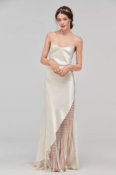 Slip Wedding Dress, Perfect Wedding Dress, Wedding Gowns, Fringe Wedding Dress, 2017 Wedding, Summer Wedding, Lace Wedding, Trendy Wedding, Wedding Jewelry
