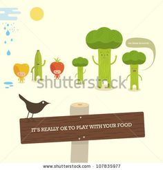 Vegetable characters with bird on sign