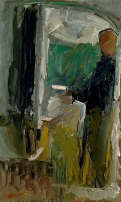 Self Portrait (In Studio Mirror)  by Peter Coker       Date painted: 1988  Oil on canvas, 146 x 88.9 cm  Collection: Royal Academy of Arts