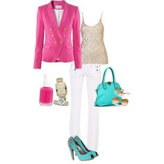 Pink & Turquoise, created by abonney on Polyvore