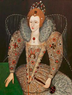 Queen Elizabeth I by British (English) School Date painted: Oil on panel, 114 x 88 cm Collection: Compton Verney Elizabeth I, Elizabeth Bathory, Renaissance Mode, Renaissance Fashion, Renaissance Clothing, Historical Costume, Historical Clothing, Compton Verney, Elizabethan Era