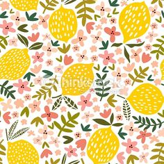 Vector flower and lemon seamless pattern royalty-free vector flower and lemon seamless pattern stock vector art amp; more images of pattern Illustration Blume, Pattern Illustration, Pretty Patterns, Flower Patterns, Marco Polaroid, Design Textile, Fruit Pattern, Vector Flowers, Motif Floral