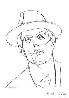 """Gaze 350″, continuous line drawing by Boris Schmitz"