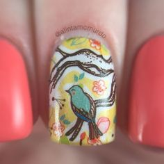 MILV Water Decals Review - Polish And Paws Blog - MILV N265 water decal with Powder Perfect Florida a lovely coral polish - Aussie Indie - Nails - Cruelty Free Beauty