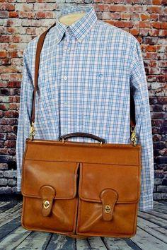 Vintage COACH 5279 British Tan Leather Laptop Briefcase Attache Messenger Bag by vintageLUXthreads on Etsy