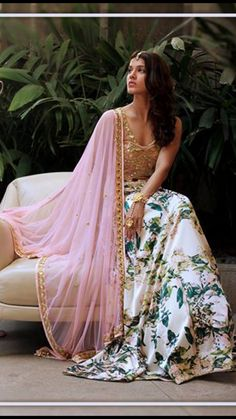 //floral lehenga perfect for a garden wedding