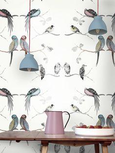 Perched Birds Cream. wallpaper. Thumbnail 1