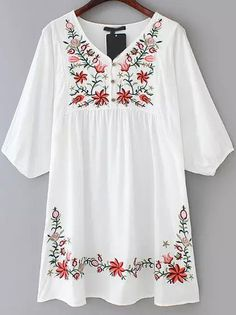 White V Neck Embroidered Loose Dress 19.33