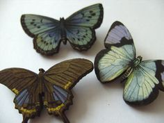 Set of 3 butterfly Brooches wood small lilac grey by NewellsJewels, £8.00