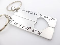 Custom Coordinates Keychains Long distance by thelightandthedark1