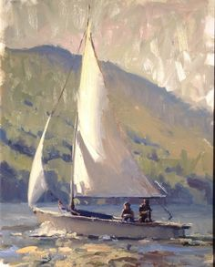 "Havens South Designs loves the light in this seascape ""Full Sails"" by James Richards: One of the best sailboat paintings ever. Added note by Roger Carrier Landscape Art, Landscape Paintings, Art Plage, Sailboat Painting, Sky Painting, Urbane Kunst, Boat Art, Painting Inspiration, Art Photography"