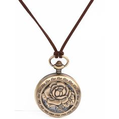 Retro Gold Lotus Pocket Watch Necklace ($12) ❤ liked on Polyvore