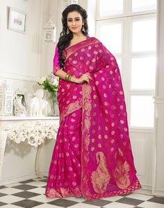 Buy Magenta Banarasi Silk Saree With Blouse 64065 with blouse online at lowest price from vast collection of sarees at Indianclothstore.com.