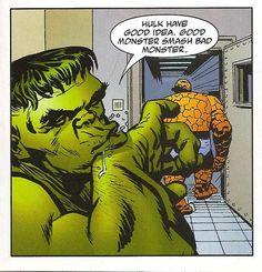 Good Monster Smash Bad Monster (by Duncan Fegredo from Monsters On The Prowl Hulk Marvel, Marvel Heroes, Avengers, First Hulk, Hulk Smash, Enemies, Monsters, Joker, Fictional Characters
