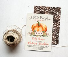 Little Pumpkin Fall Baby Shower Invitation Printable, Autumn Invite, Gender Neutral Colors, is on the way, Orange and Brown Harvest, October