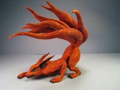 Kyuubi 9 Tailed Fox Anime Demon Painted Resin Cast Sculpture Amazing Naruto Art Absolutely