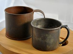 Set of Two Rustic Tin Cups by WhositsandWhatnots on Etsy,
