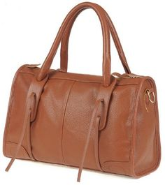 Brown Zipper PU Leather Shoulder Bag