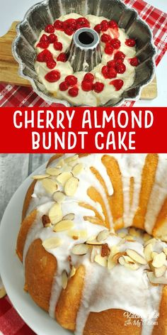 Cherry Almond Bundt Cake recipe has a rich almond and vanilla flavor and loaded with delicious maraschino cherries.This Cherry Almond Bundt Cake recipe has a rich almond and vanilla flavor and loaded with delicious maraschino cherries. Easy Cake Recipes, Baking Recipes, Dessert Recipes, Almond Recipes, Vanilla Recipes, Cherry Recipes, Dessert Food, Recipes With Cherries, Appetizer Dessert
