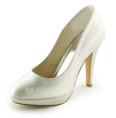 Wedding Shoes - $62.99 - Women's Satin Stiletto Heel Closed Toe Platform Pumps (047008119) http://jjshouse.com/Women-S-Satin-Stiletto-Heel-Closed-Toe-Platform-Pumps-047008119-g8119