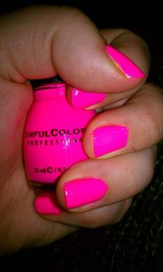 "neon nails. ""24/7"" Awesome summer color! Get it at Target for $1.50(ish) now we just need a target here!"