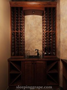 wine wall with bar sink