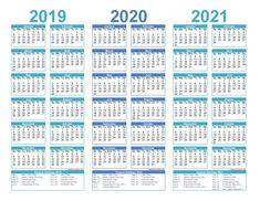 2 Year Calendar Printable 2019 2020 Excel, PDF, Image – Free Printable 2020 Monthly Calendar with Holidays