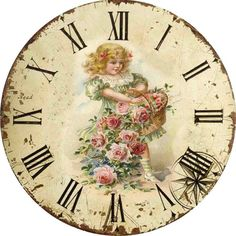 Printable Clock, Girl with Basket of Flowers