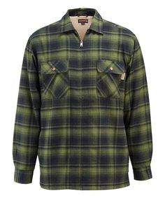 Forest Marshall Flannel Sherpa-Lined Zip-Up Shirt Jacket