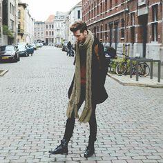 Zara Scarf, Zara Long Coat, Zara Black Pants, Steve Madden Boots