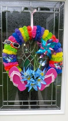 Summer fun flip flop wreath. Total cost $8.00 made with all Dollar Tree items.