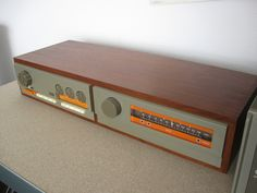 Vintage Quad 33, FM3 and 303 amplifier with wooden sleeve