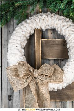 Make this rustic wreath in less than 30 minutes without any tools! We show you the quick step by step process to make a chunky knit wreath for your winter decorating. Add a bit of farmhouse charm to your holiday decorations. These also make a great gift. Easy Craft Projects, Easy Crafts, Diy And Crafts, Craft Ideas, Rustic Christmas, Christmas Crafts, Diy Christmas Wreaths, Winter Wreaths, Spring Wreaths