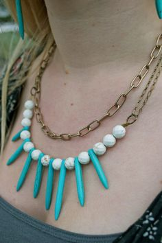 Turquoise Spike Necklace Seperated by White by AtonementDesign, $48.00