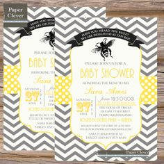 Baby shower invitation bee theme vintage black &  by paperclever, $13.00