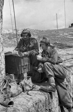 A pair of Greek soldiers make contact with their troops on a field radio during the Greek Civil War. (Photo by Bert Hardy/Picture Post/Getty Images). May 1948 Greek History, European History, Military Photos, Military History, Trx, Hellenic Army, Greek Soldier, World Conflicts, Greek Warrior